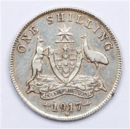 Sale 9156 - Lot 229 - An Australian 1917 silver shilling, with six pearls and full centre diamond