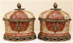 Sale 9190W - Lot 49 - A pair of brass mounted crackle glazed lidded canisters painted in red and cream. Height 25 x width 22cm
