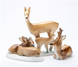 Sale 9185 - Lot 60 - A collection of Zsolnay Pecs deer figures (3) (H:17.5cm)