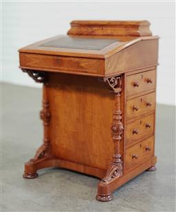Sale 9196 - Lot 1021 - Victorian Walnut Davenport, with hinged stationery compartment, a writing slope enclosing a fitted interior with some accessories, h...