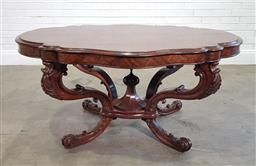 Sale 9215 - Lot 1016 - Good Victorian Centre Table, with shaped highly figured quarter-veneered top, on boldly swept cabriole legs, with large octagonal fi...