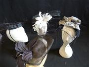 Sale 7982B - Lot 120 - Four straw fascinators with feather detail