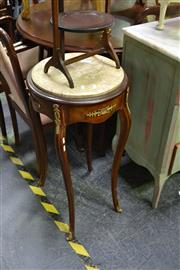 Sale 8035 - Lot 1069 - Pair of Circular Marble Top Timber Tables