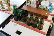 Sale 8189 - Lot 109 - Green Glass Drink Wares with Leather Holders