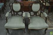 Sale 8267 - Lot 1024 - Pair of Late Victorian Possibly Mahogany Armchairs, with pierced backs upholstered in blue velvet & cabriole legs