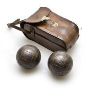 Sale 8312A - Lot 6 - A vintage French Steel Pentaque bocce Balls game set, with original leather case