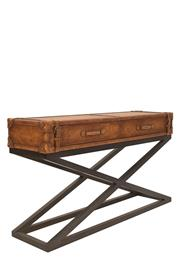 Sale 8342A - Lot 177 - A distressed leather two drawer console, on x frame steel base, H 83 x W 152 x D 42cm