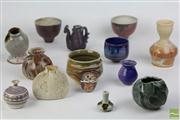 Sale 8486 - Lot 34 - Australian Studio Pottery Collection of Small Vases and Bowls