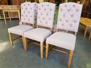 Sale 8620 - Lot 1050 - Set of Six Latte Fabric Upholstered Button Back Dining Chairs