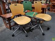 Sale 8629 - Lot 1076 - Pair of Yellow Herman Miller Office Chairs & Green Example (3) -