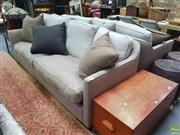 Sale 8637 - Lot 1045 - Pair of Green Modern Four Seater Sofas