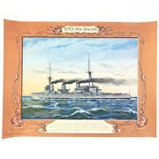 Sale 8793 - Lot 65 - HMS New Zealand, WWI. Chromolith 35 x 48cm, by Three Castle Tobacco c1916. Scarce