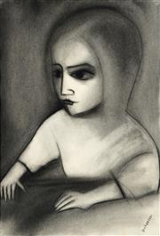 Sale 9013 - Lot 540 - Robert Dickerson (1924 - 2015) - Portrait Of Young Girl 54.5 x 36 cm (frame: 75 x 58 x 5 cm)
