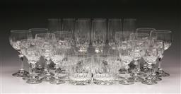 Sale 9119 - Lot 130 - A large 8 person suite of drinking glasses inc wine, tumblers, goblets and others