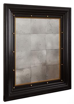 Sale 9135H - Lot 10 - An ebony and gilded mirror featuring sectional aged mirror panels. May be hung horizontally. Height 91cm Height, x Width 76cm