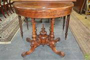 Sale 8267 - Lot 1048 - Victorian Burr Walnut & Marquetry Card Table, the hinged top (some veneer losses) with baize interior, on fine birdcage base