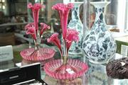 Sale 8324 - Lot 37 - Cranberry Glass Four Trumpet Epergne