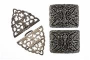 Sale 8373 - Lot 312 - AN EDWARDIAN SILVER BELT BUCKLE AND PAIR FRENCH SHOE CLIPS; buckle hallmarked Birmingham 1907, shoe clips in cut steel.