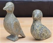 Sale 8593A - Lot 23 - Two verdite sculptures of stylised birds, one signed Nowdlah Noah?