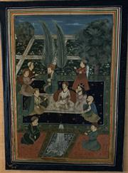 Sale 8510A - Lot 80 - A Persian painting on fabric panel (damaged) depicting a court scene, H x 110cm, W x 80cm