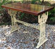 Sale 8772A - Lot 86 - An Antique Decorative Cast Iron Leg Table With Timber Top Size 73 cm H x 99 cm L x 50 cm W General Wear