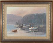 Sale 8818A - Lot 46 - BHingertyDRI Boats at RestDR oil on boardR 44 x 59cmR signed and dated LL 86