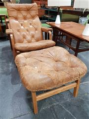 Sale 8908 - Lot 1036 - Danish CADO Leather Button Back Armchair with Footstool