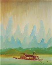 Sale 9084A - Lot 5045 - Sidney Nolan (1917 - 1992) - River Kuei - The Fisherman (from China Series) 71 x 57 cm (frame: 96 x 61 x 2 cm)