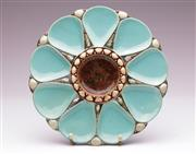 Sale 9081 - Lot 81 - A Minton Turquoise Majolica Oyster Plate (Dia 23cm)