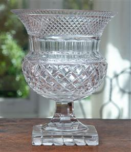 Sale 9120H - Lot 58 - A cut crystal thistle shaped vase, Height 23.5cm   losses to base