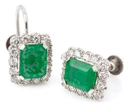 Sale 9149 - Lot 415 - A PAIR OF DIAMOND AND STONE SET EARRINGS; each an emerald shape composite green stone set in 9ct white gold to surround of 14 round...