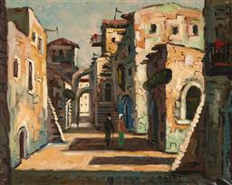 Sale 9256A - Lot 5158 - ISRAELI SCHOOL Shaded Laneway in the Old City of Jerusalem oil on canvas on board 38.5 x 48.5 cm (frame: 50 x 60 x 4 cm) signed lowe...