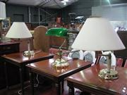 Sale 7974A - Lot 1084 - Pair of Table Lamps w Bankers Lamp