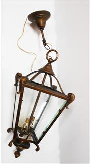 Sale 8256A - Lot 55 - A vintage French brass / bronze hanging lantern wired for electricity. Overall Size: 65 x 20 cm
