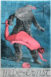 Sale 8256S - Lot 22 - Martin Sharp (1942 - 2013) - The Birdman, Max Ernst (Big O) 75.5 x 50.5cm