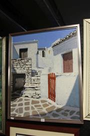 Sale 8349A - Lot 100 - V. Nelavitsky (XX - ) - Greek Village 60 x 50cm