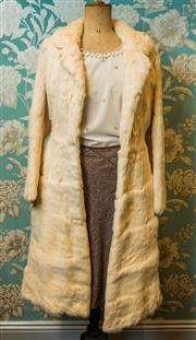 Sale 8420A - Lot 85 - A vintage cream rabbit full length fur coat, size: XS/S (vintage size 10), fully lined and in very good condition