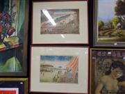 Sale 8429A - Lot 2071 - Artist Unknown (Japanese School) (2 works) - Station; The Tubby Isaac, colour etchings, each 29 x 44cm, each signed lower right
