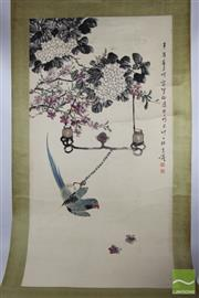 Sale 8508 - Lot 72 - Chinese Scroll Depicting Bird Holding On Chain
