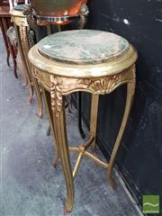 Sale 8554 - Lot 1002 - Pair of Marble Top Plant Stands