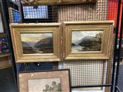 Sale 8910 - Lot 2019 - Pair of C19th Mountainscape oil paintings by A. Bell, each 45 x 55 cm and signed