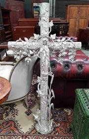 Sale 8956 - Lot 1018 - Large French Cast & Soldered Iron Crucifix, painted silver, overgrown with ivy, roses & bullrushes, mounted with a figure of the pra...
