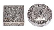 Sale 9010H - Lot 99 - A Gorham repousse rose design sterling silver compact and a continental compact with spring press to open lipstick holder