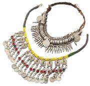Sale 9083 - Lot 498 - TWO VINTAGE TRIBAL NECKLACES; a Moghul necklace attached with worn coins, length 43cm, wt. 150.69g, other 2 rows of assorted coins s...