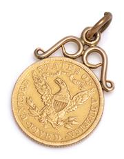 Sale 9090J - Lot 387 - A 1901 US FIVE DOLLAR GOLD COIN PENDANT; 22ct coin (wt. 8.36g) on an approx. 14ct gold scroll surmount, total wt. 9.46g.