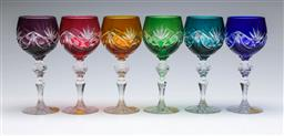 Sale 9093 - Lot 40 - A Set Of Six West German Lead Crystal Harlequin Drinking Glasses H: 19.5cm
