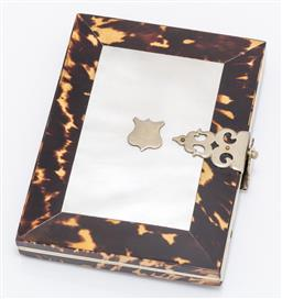 Sale 9180E - Lot 28 - A mother of pearl and tortoiseshell framed card case with blank armorial to front, Length 10.5cm x 8cm