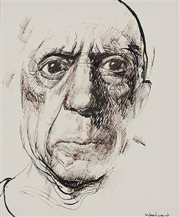 Sale 9180A - Lot 5052 - MARGARET WOODWARD (1938 - ) Please Smile (Picasso) pen and ink 16 x 14 cm (frame: 55 x 51 x 3 cm) signed lower right