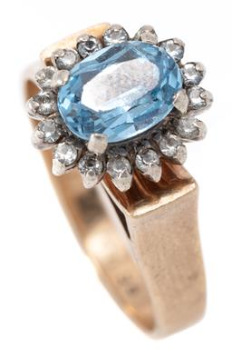 Sale 9164J - Lot 523 - A 9CT GOLD STONE SET CLUSTER RING; set with a cluster of oval blue and round white pastes, size P1/2, width 12mm, wt. 5.53g.