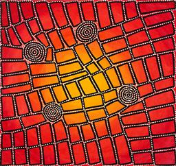 Sale 9239A - Lot 5060 - WALALA TJAPALTJARRI (1970 - ) Tingari acrylic on linen 126 x 129 cm (stretched and ready to hang) cat no. #DB503, artist holding photos